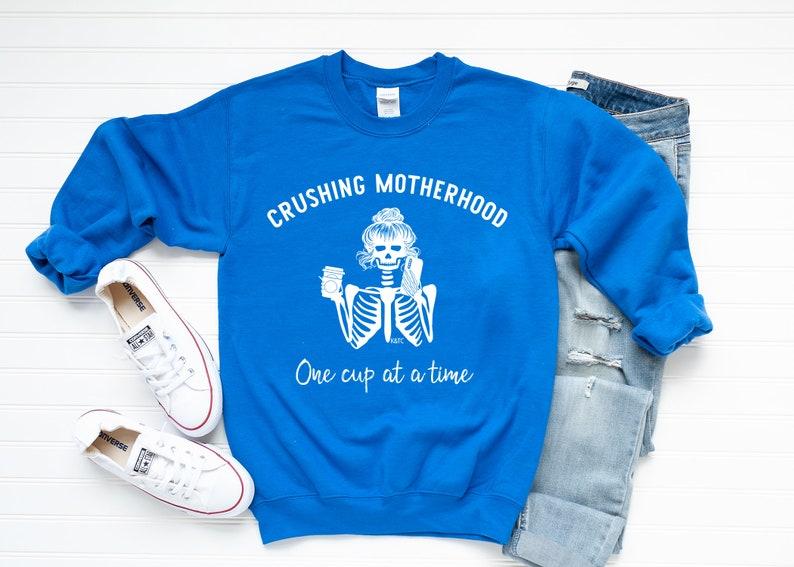 Crushing Motherhood|Soft Crewneck Sweater|Mom Graphic Tee|Long Sleeve|Mama love|Mom Life Shirts For Moms|Girl Mom|Boy Mom|Lightweight Tees