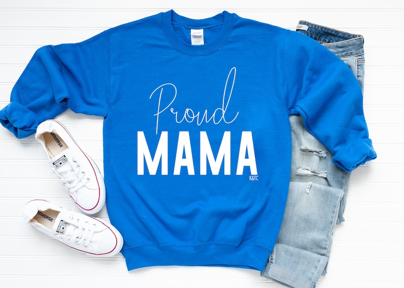 Proud Mama Soft Black Fleece Crewneck Sweater|Boy Mom|Girl Mom|Trendy Mothers Day Gifts|Mom Life Sweatshirt|Long Sleeve Mama Sweater|Hoodies