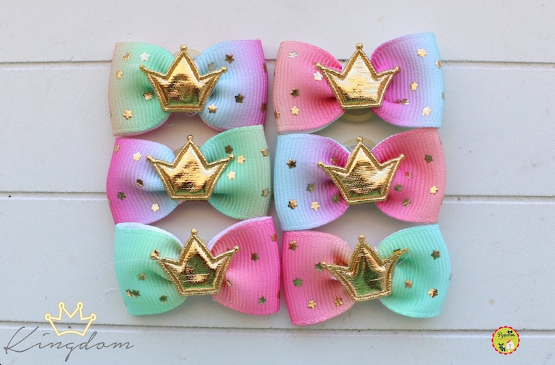 crown gold pet show dogs tags Dog Hair Bows pet hair bow dogs hair bows small bows for dog dog grooming bows luxury bow dog bandana