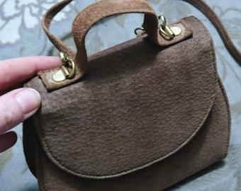 0cbd9a1164 Vintage 1970s Boho Brown Suede Handbag, Made in Canada