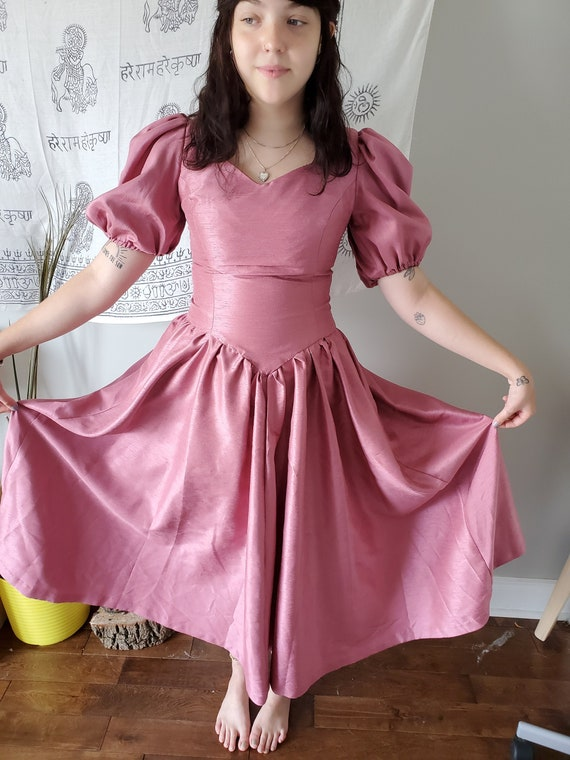 80's Pink Puff Sleeve Dress // Small Vintage Prom
