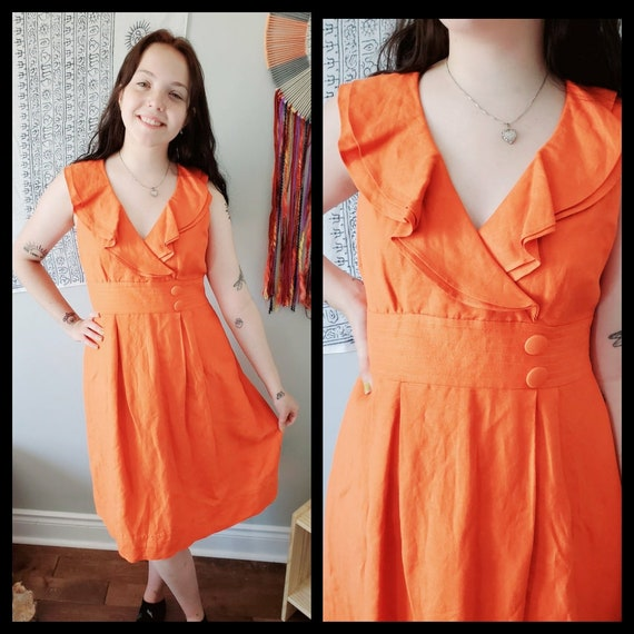 1990's Orange Ruffle Dress // Small Sleeveless Hal