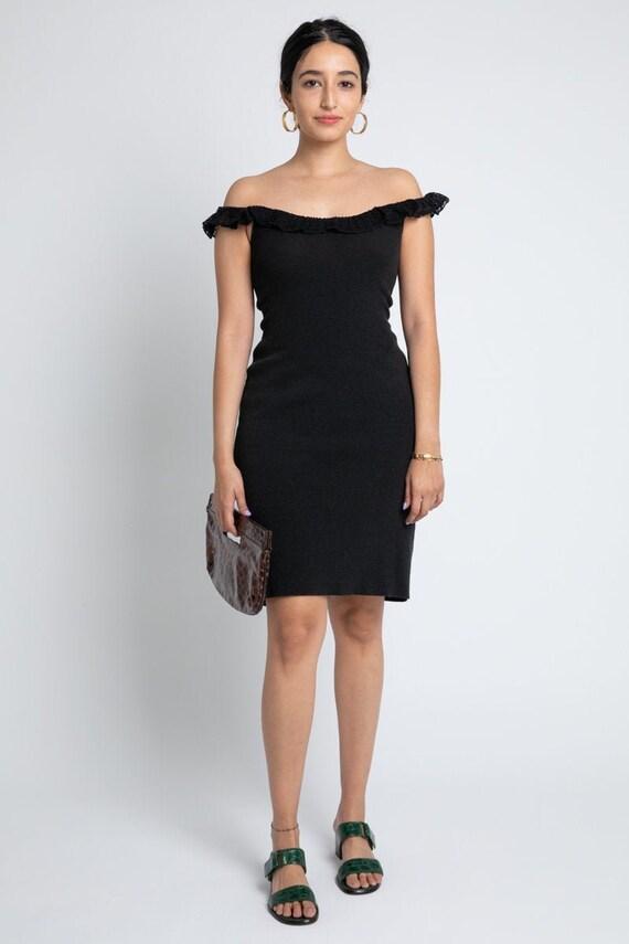 Vintage Moschino Black Off-Shoulder Dress