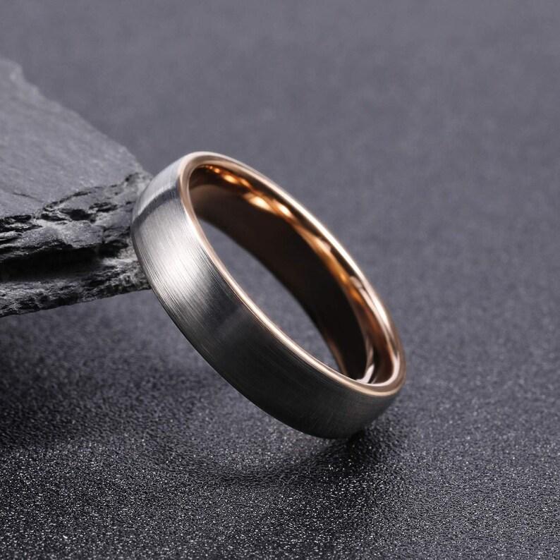 Wedding Ring Rose Gold Tungsten Man Ring Anniversary Ring Ring for Man Engagement Ring Brushed Silver Wedding Band Tungsten Ring Man