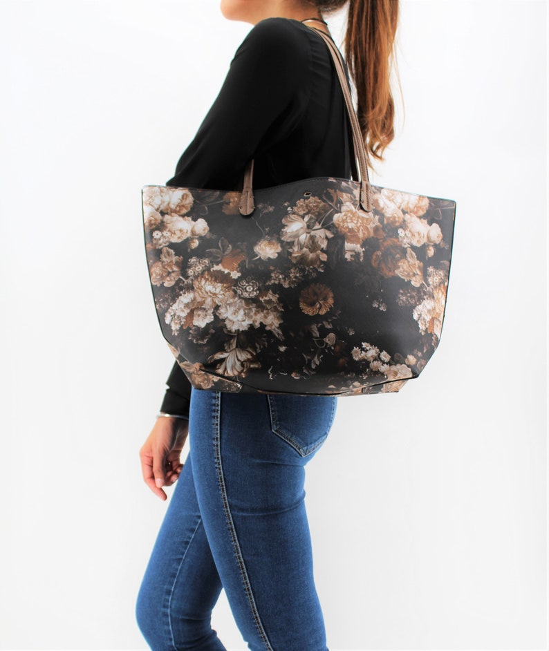 Stylish Trendy Collection Medium Size Brown Straps Black Printed Shoulder Bag Faux Leather Floral Pattern