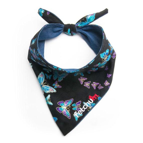 Fetchum reversible dog bandana butterflyblue personalized free