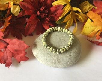 Clay, Light Green Camouflage Rondelle, Healing Bracelet.