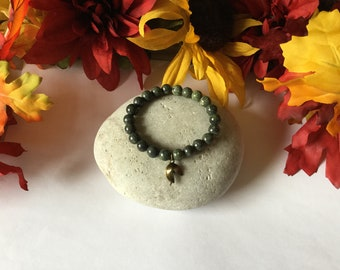 "Jasper ""Green""  Stone w/Fortune Charm, Healing Bracelet.."