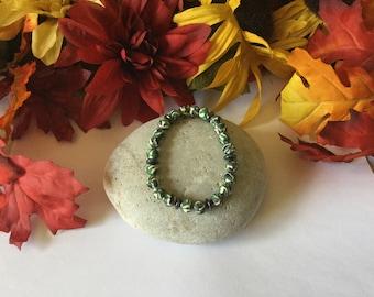 Clay, Green Camouflage w/Hematite Stones, Healing Bracelet.