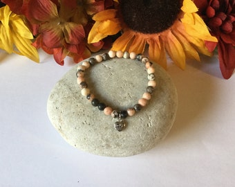 Jasper w/Love Charm, Healing Bracelet.