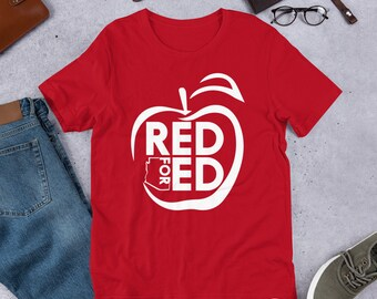 45552d800f58 Red For Ed T-Shirt #RedForEd Support Public Ed Unisex T-Shirt -  Short-Sleeve Unisex T-Shirt