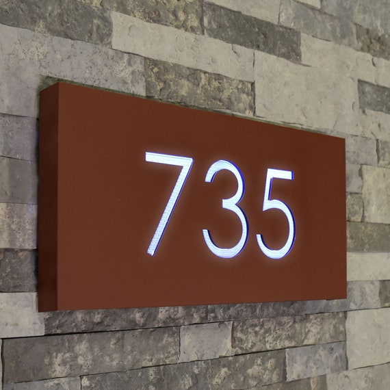 House Numbers Plaque with LED Lights Vertical Lighted Address Sign Large Modern Personalized Marker Mail Box Display