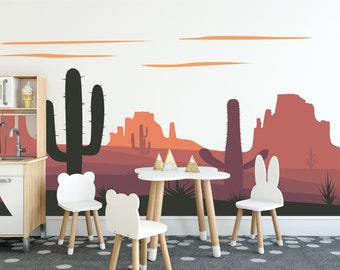 Desert Wall Mural | Cactus | Nursery Decor | Nursery Decals | Grand Canyon Decals | Wall Decals | Removable Stickers | Free Shipping