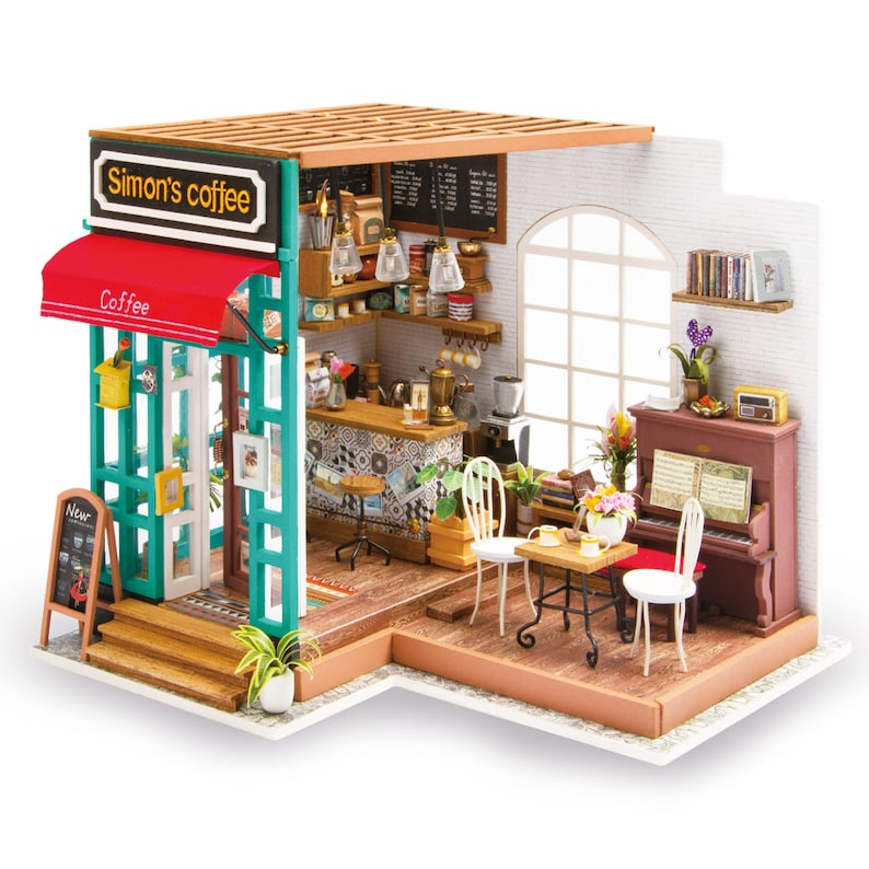 ROBOTIME DIY Dollhouse Kit Miniature Coffee House Kits with Accessories and Furniture Best Birthday Gifts for Her