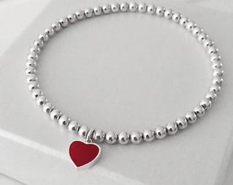925 Sterling Silver Heart Charm Bracelet, Red Heart Charm Bracelet, Heart Charm Bracelet, Silver Heart Charm Bracelet