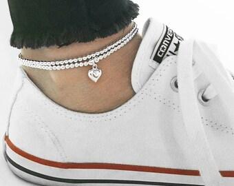 925 Sterling Silver Stretch Heart Ankle Bracelet, Sterling Silver Ankle Bracelet, Ankle Bracelet, Silver Heart, Anklet