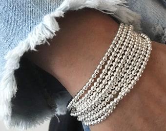 925 Sterling Silver Stretch Bracelet,Bracelet,Stacked Bracelets,Womens Bracelets