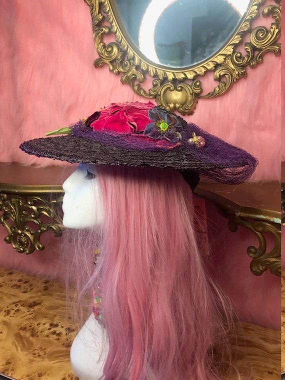 Original Late 1940s Aubergine Wax Weave Saucer Hat