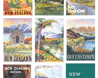 Single poster for send with stamps. Help write down words and send to receiver. New Zealand landscape poster cards