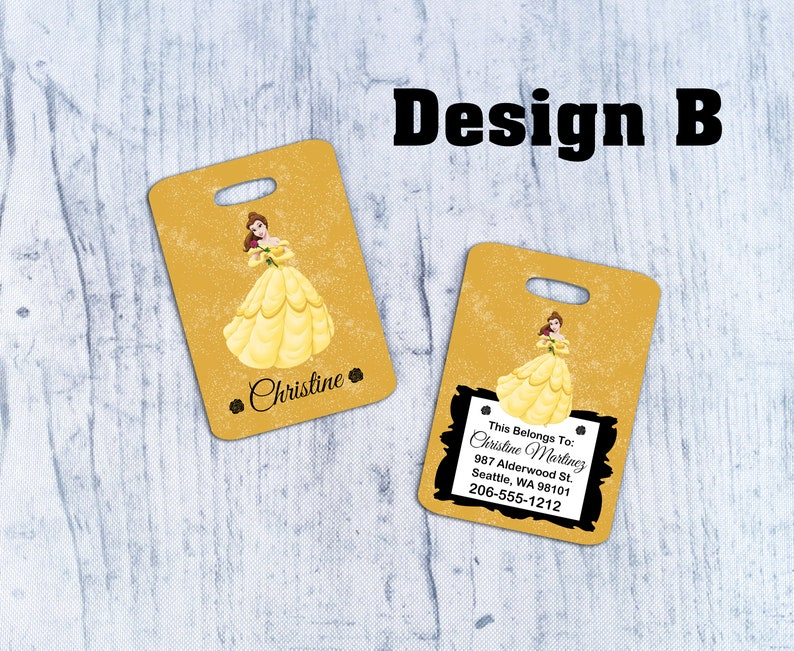 Beauty and the Beast Luggage Tag Luggage Tag School Bag Tag Disney Luggage Tag Travel Luggage Tag Disney Belle Tag Back Pack Tag