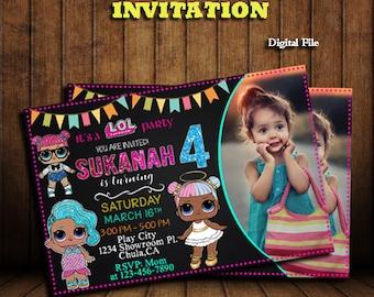 DIGITAL LOL Doll Birthday Invitation Printable Girl Themes Party Invitations Printed