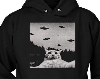 Womens Girls Cat Unicorn Pullover Hoodie Vintage Bigfoot UFO Abduction Cropped Sweatshirts