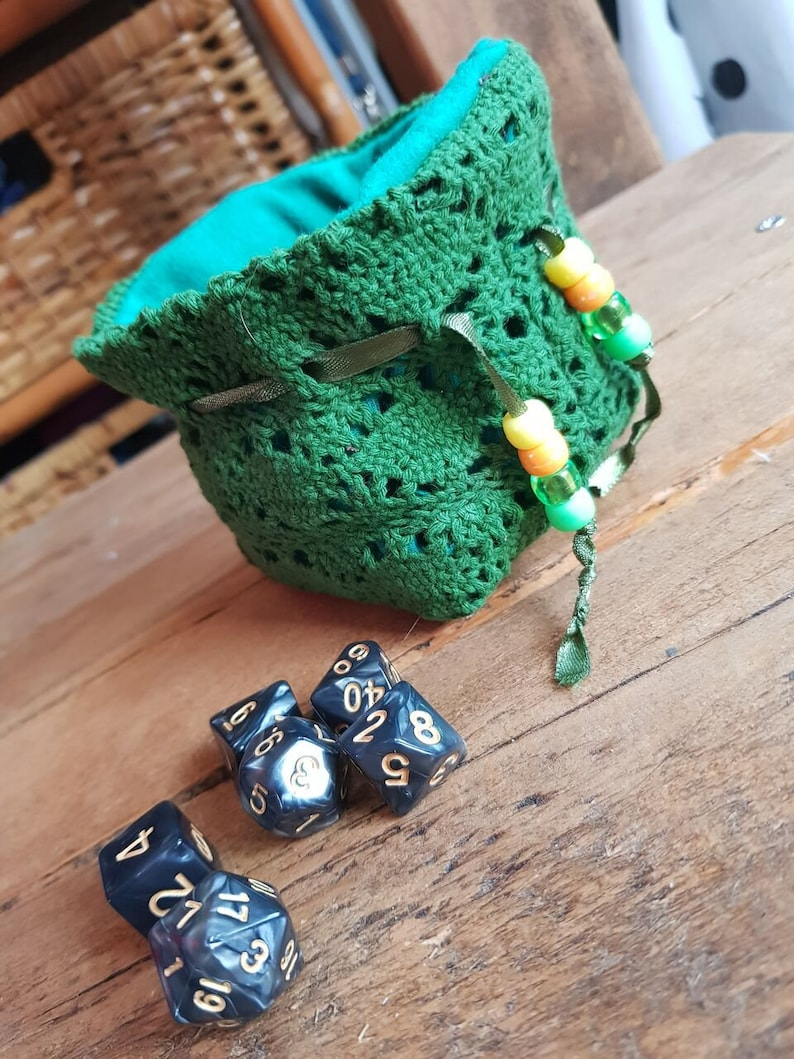 Small Dice bag tabletop rpg games Dice storage Polyhedral mini set Pathfinder Druid colours Dungeons and Dragons D/&D