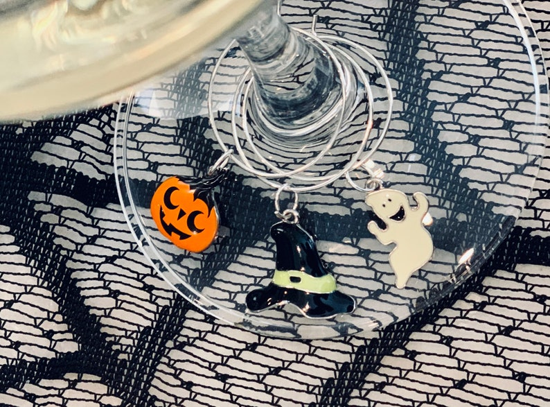 Pumpkin Charms Witch Charms set of 3 Wine Glass Charms Halloween Wine Charms Dia de Muertos Ghost Wine Charms Spooky Wine Charms