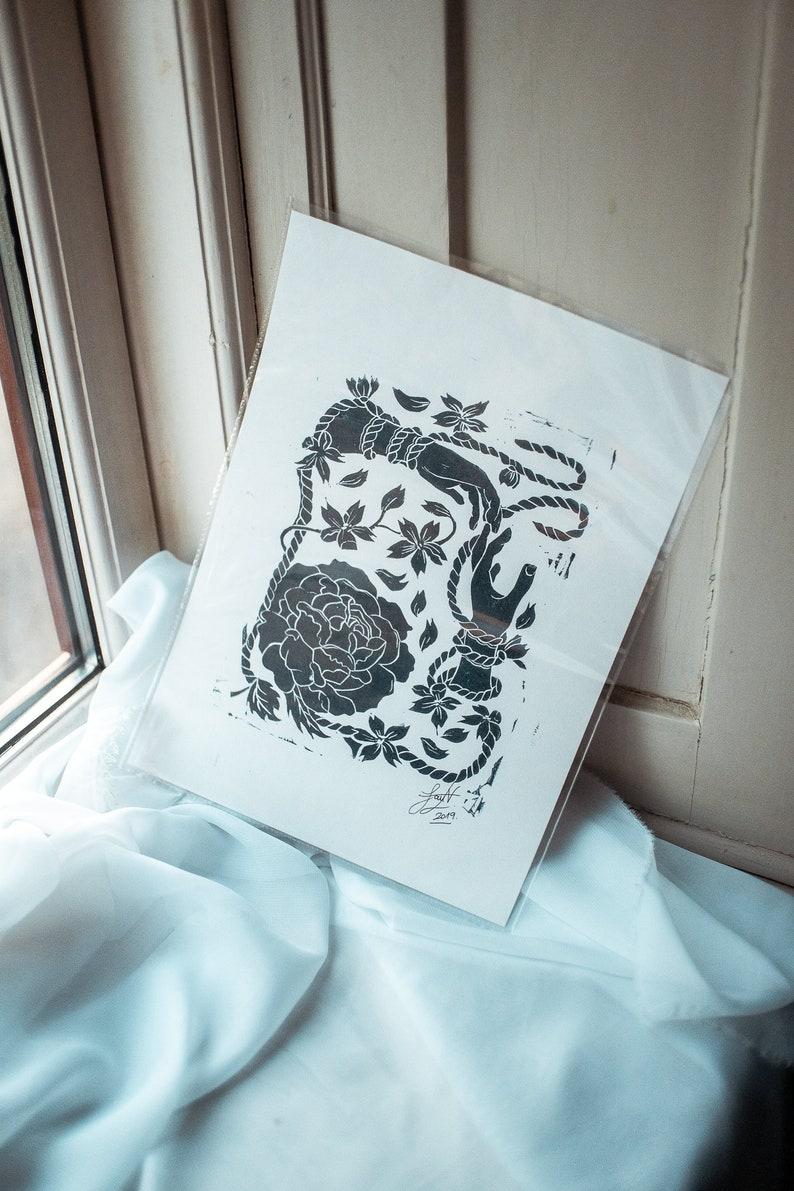 black monochrome linoleum lino artwork print on A4 heavyweight paper Decorative floral peony and cherry blossoms linocut ink print