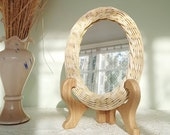 Tabletop makeup mirror on wooden stand, Small mirror in boho style, Oval peruvian mirror