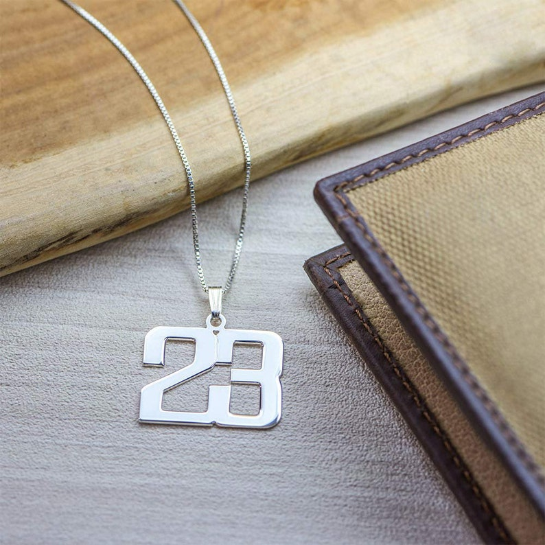 Personalized Charm Number Necklace 925 Sterling Silver Customized Jewelry for Men