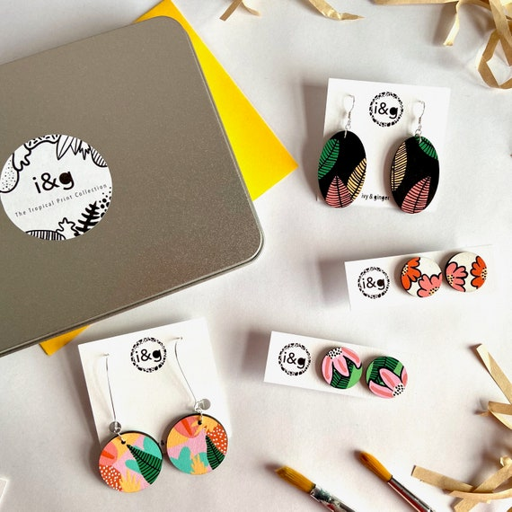 The Tropical Print Collection Hand Painted Wooden Earrings Gift Set
