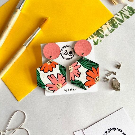 Statement Wild Flower Hexagon Dangles Hand Painted Wooden Earrings