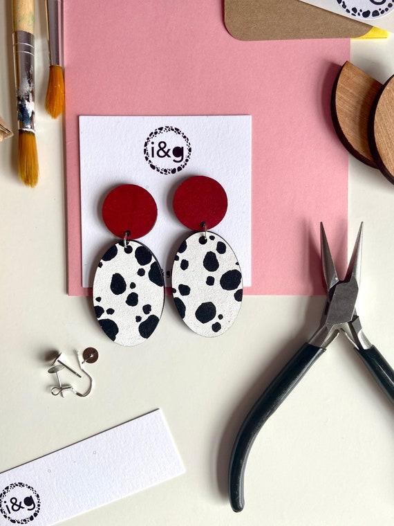 Red Dalmatian Print Wooden Dangle Earrings Stud Handpainted Animal Print Oval