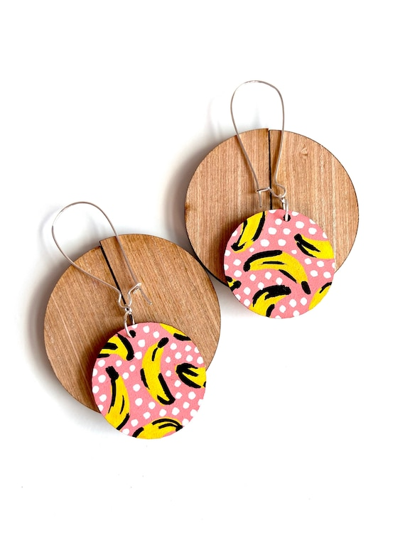 Pink Banana Graphic Drop Dangle Wooden Earrings Bright Fun Quirky Statement