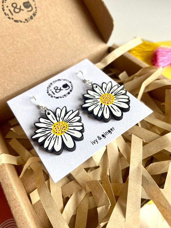 LIMITED EDITION Double sided hand painted wooden daisy dangle earrings summer