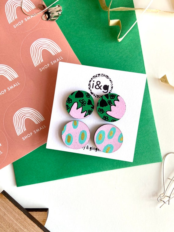 Green and Pink Flower Print Wooden Stud Earring Set Collection Gift Set