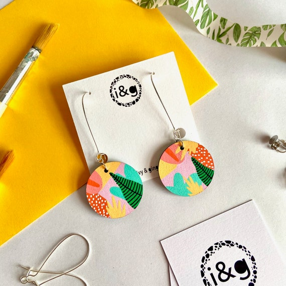 Abstract Tropical Circle dangles Hand Painted Wooden Earrings