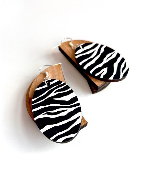 Zebra Oval Drop Dangle Earrings 925 Sterling Silver Hooks Bright Fun
