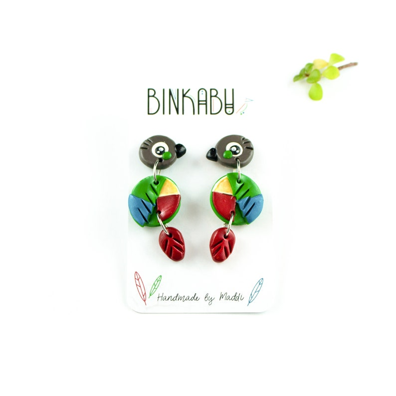 Green Cheek Conure Earrings - Polymer Clay Statement Earrings