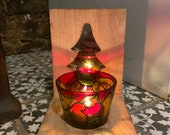 Festive Christmas tree wooden candle holder stand with painted glass tealight and mirror