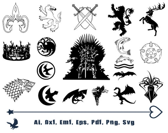Game Of Thrones Logo Svg Cutting Files For Cricut And Etsy