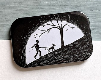 Dog Walking Linocut Fridge Magnet - perfect gift for dog owners and nature lovers