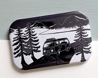 Camper Van in the Mountains Fridge Magnet - perfect gift for wilderness lovers, adventure-seekers and anyone who wants to escape it all!