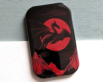 Dragon and Moon Red and Black Linocut Fridge Magnet - great gift for men and all lovers of dragons and fantasy, myths and legends