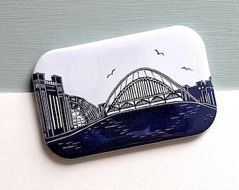 Tyne Bridge Linocut Fridge Magnet - Newcastle Gateshead quayside with Sage Gateshead and Baltic Gift for anyone who loves North East England