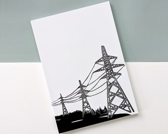 Pylons Linocut A5 Notebook - gift for writers, artists, doodlers and pylons fans! Great gift for men
