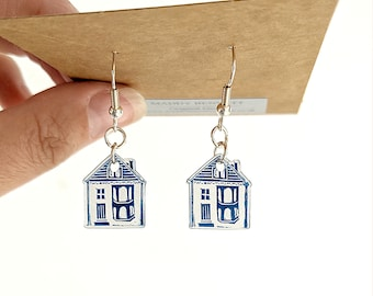 House linocut drop earrings - a stylish, quirky gift available in deep blue or purple