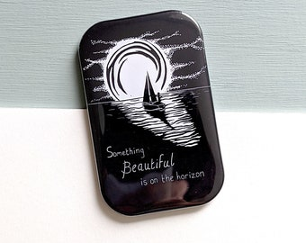 Something Beautiful is on the Horizon Linocut Fridge Magnet - perfect gift to send positivity, optimism and hope for what's round the corner