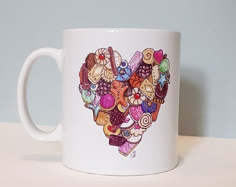 Biscuit lover mug - with an illustration of a heart made out of cookies. Perfect friendship Mother's Day gift for anyone with a sweet tooth.